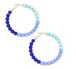 Blue Multi Ombre Beaded Hoop Earring