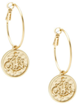 Engraved Coin Hoop Earring