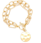 Gold Oval & Paper Clip Links Coin Bracelet